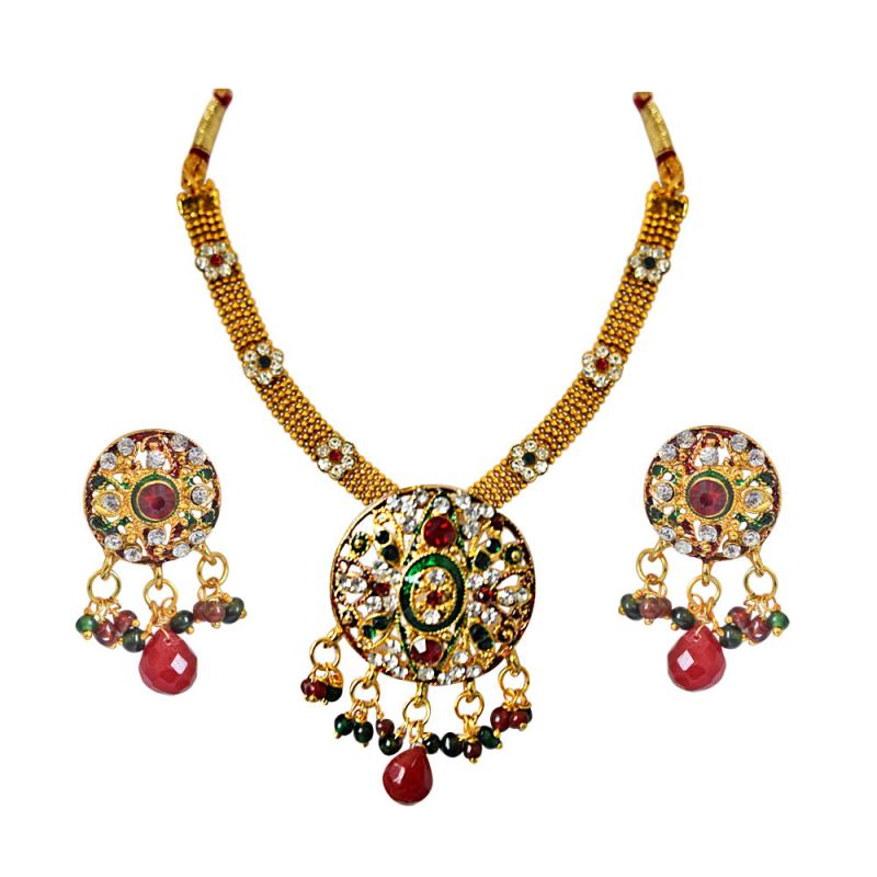 Buy Surat Diamond Ethnic Round Shaped Red, Green & White Stones & Gold Plated Pendant Necklace & Earring Set With Enamel Ps287 online