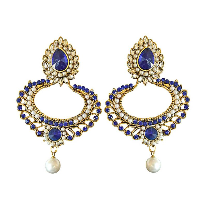 Buy Surat Diamond Drop Shaped Blue & White Coloure Stones, Shell Pearl & Gold Plated Chand Bali Earrings Pse20 online