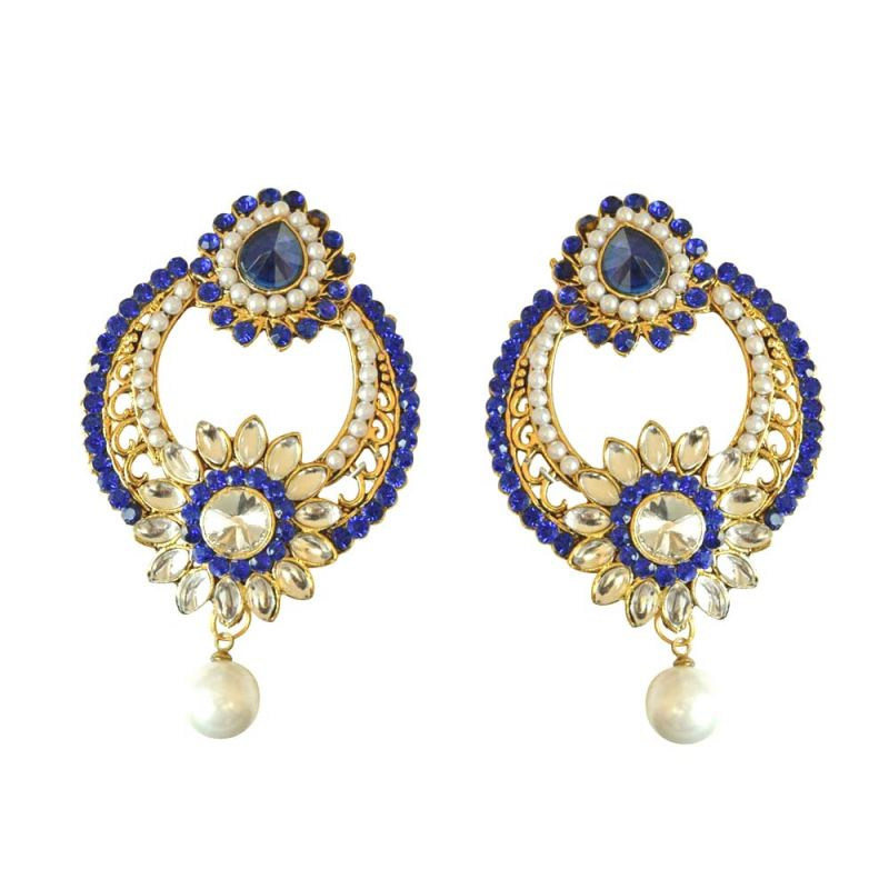 Buy Surat Diamond Round Shaped Floral Blue & White Coloured Stone, Shell Pearl & Gold Plated Chand Bali Earrings Pse22 online