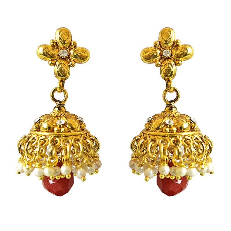 Buy Surat Diamond Traditional Gold Plated Copper White & Red Coloured Stone Jhumki Earring online