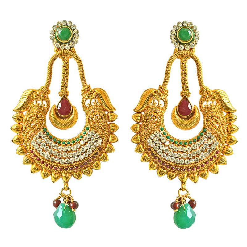 Buy Surat Diamond Traditional Red & Green Coloured Stone & Gold Plated Copper Dangling Earrings online