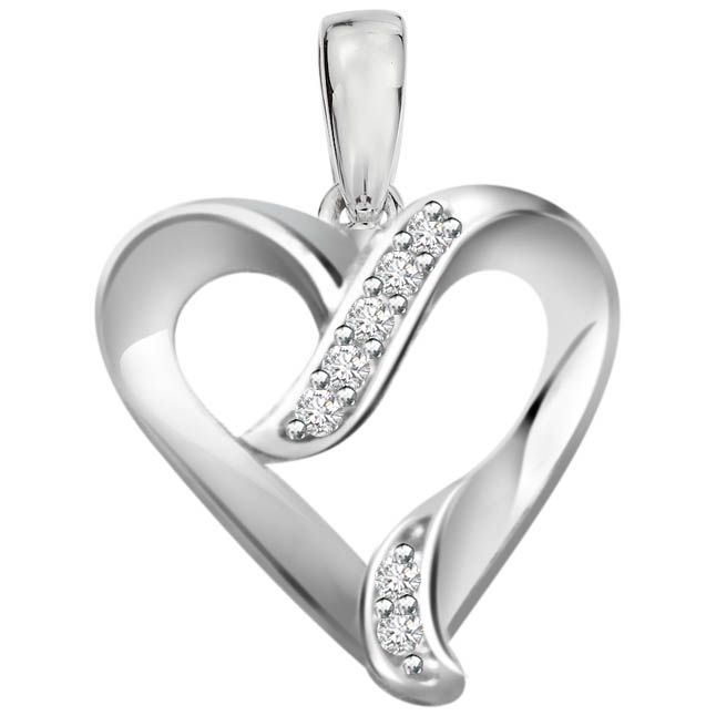 Buy Surat Diamond 0.07ct Diamond White Gold Heart Pendant - P467 online