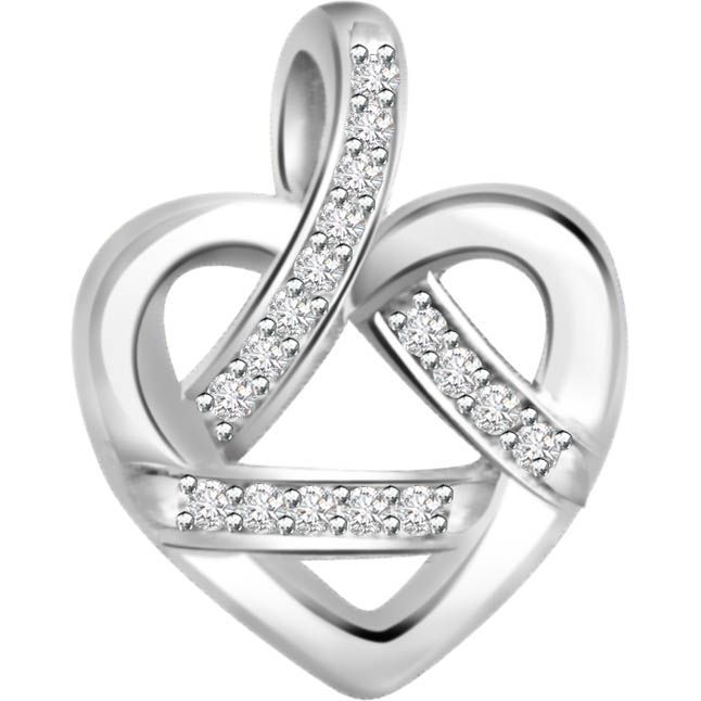 Buy Surat Diamond 0.09ct Diamond White Gold Heart Pendant - P468 online