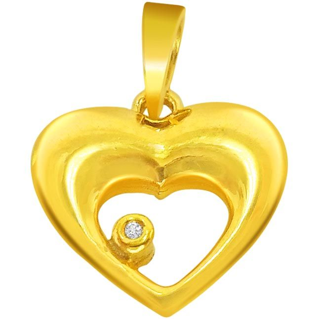 Buy Surat Diamond 0.01 Cts Heart Shaped Real Gold Diamond Pendant - P609 online