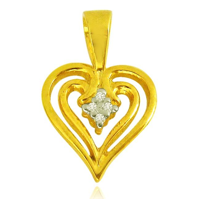 Buy Surat Diamond 0.04 Cts Heart Shaped Real Gold Diamond & Ruby Pendant - P619 online