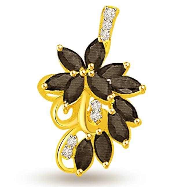 Buy Surat Diamond 0.07 Cts Diamond & Marq Sapphire Pendant 18k Gold Pendant - P681 online