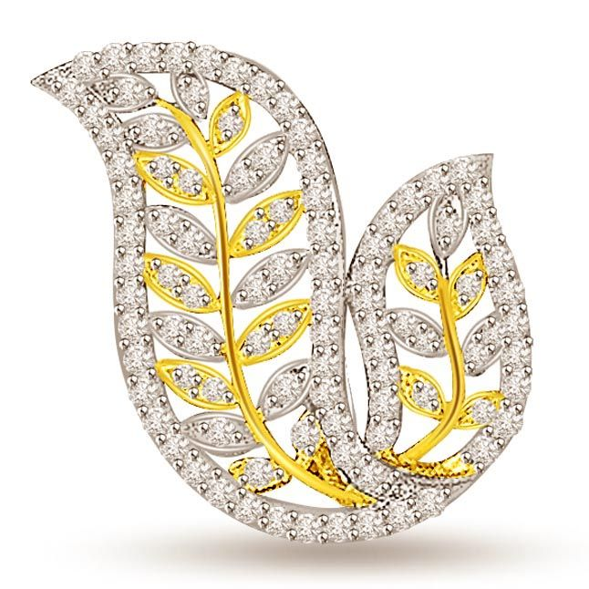 Buy Surat Diamond 1.00 Cts Two Tone Gold Leaves Diamond Pendant - P694 online