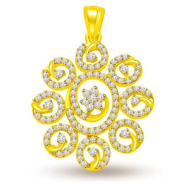 Buy Surat Diamond 0.60 Cts Diamond & Gold Sun Flower Pendant - P699 online