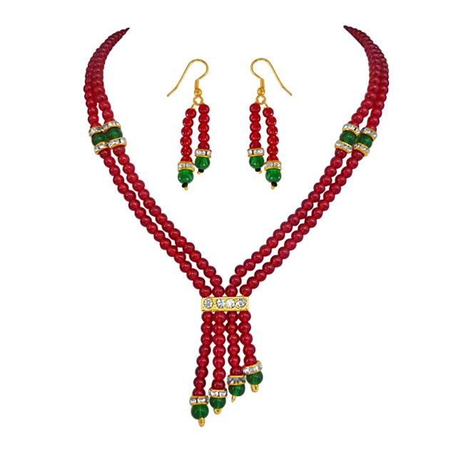 Buy Surat Diamond Pearl 2 Line Red & Green Beads Set Ps87 online