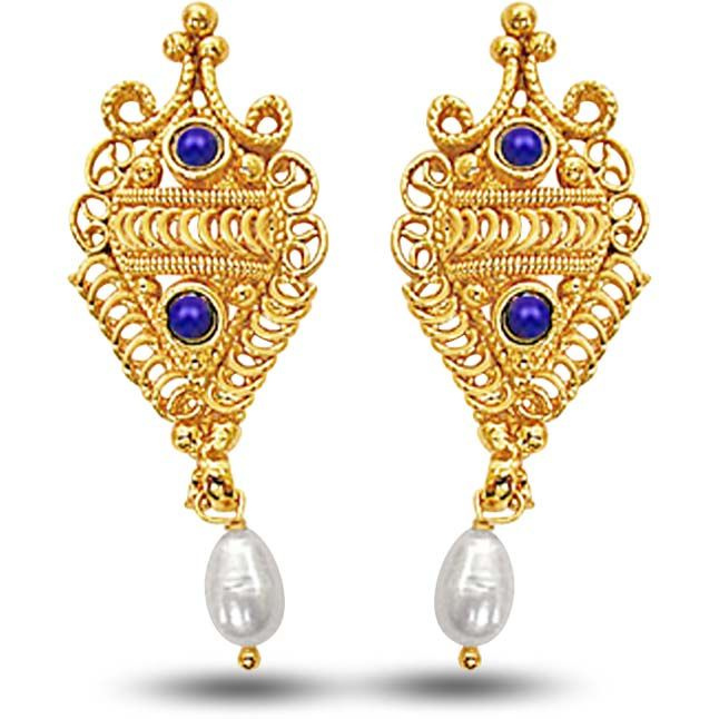 Buy Surat Diamond 24kt Gold Plated Earrings With Blue Lapiz & Freshwater Pearl Se139 online