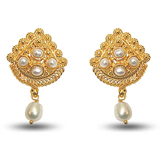 Surat Diamond 24kt Gold Plated Earrings With Freshwater Pearl Se140 Online