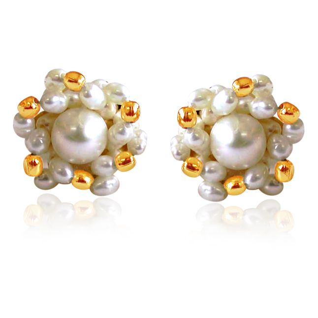 Buy Surat Diamond Golden Pearl Surprise Earrings Se19 online