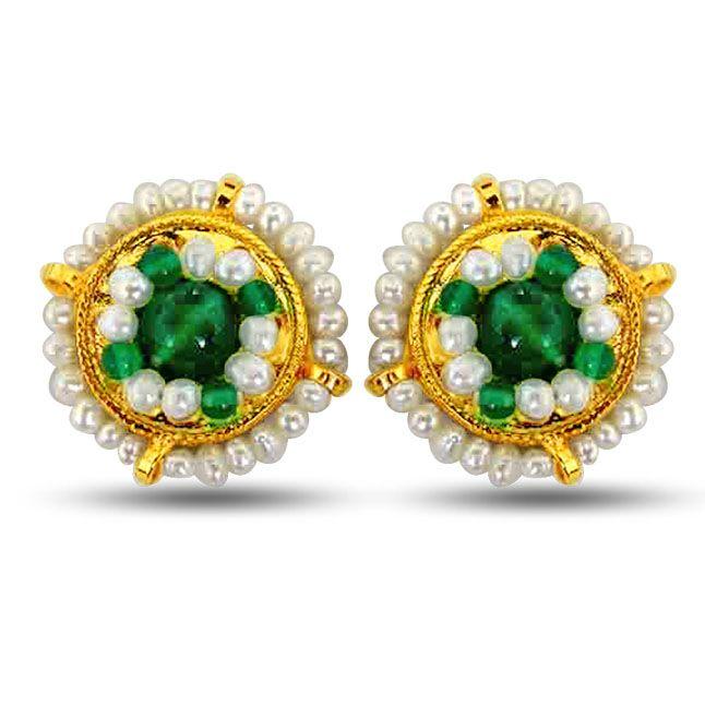 Buy Surat Diamond Pearl Glowing Green Onyx Earrings Se39 online