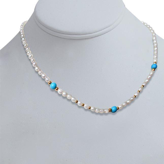 Buy Surat Diamond Pearl Turquoise Twinkle Necklace Sn241 online
