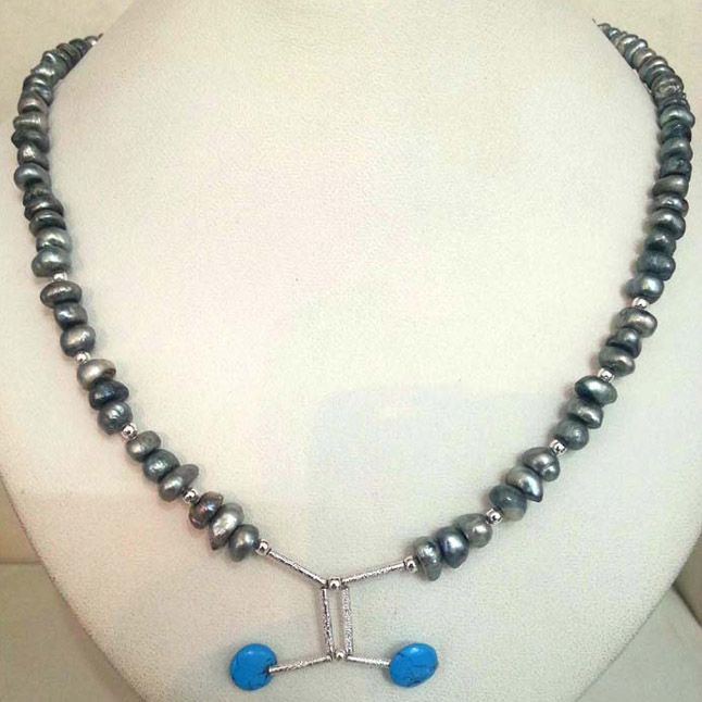 Buy Surat Diamond Grey Colored Pearl Necklace - Sn324 Sn324 online