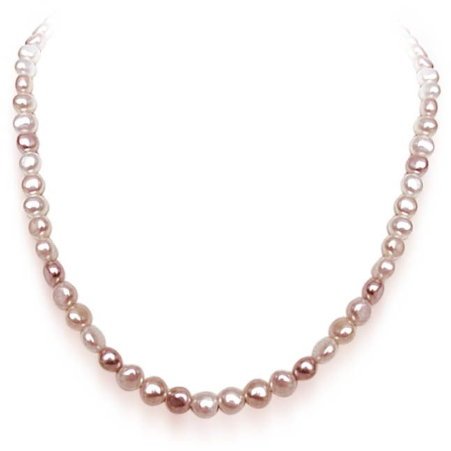 Buy Surat Diamond Single Line Peach Real Freshwater Pearl Necklace Sn482 online