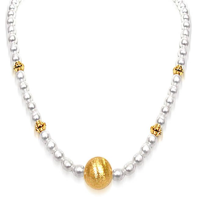 Buy Surat Diamond Real Freshwater Pearl Necklace With Ball Sn514 online