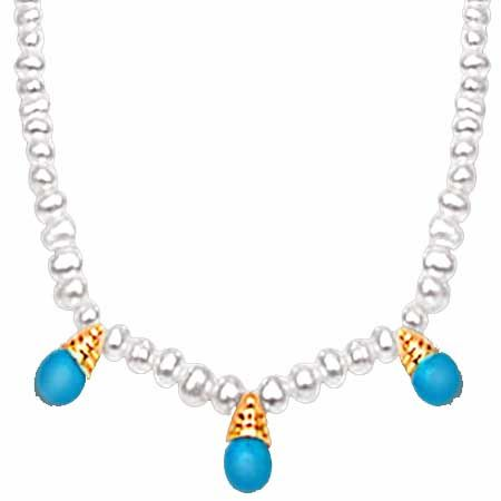 Buy Surat Diamond Turquoise Pendant & Freshwater Pearl Necklace - Sn520 Sn520 online