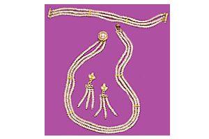 Buy Surat Diamond Pearl Entrancement Necklace Sp87 online