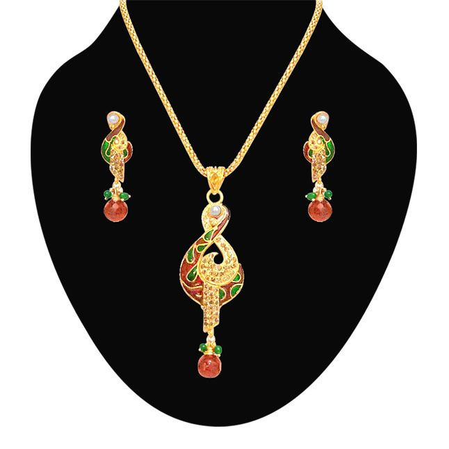 Buy Surat Diamond Red & Green Colour Gold Plated Trendy Gold Plated Pendant Necklace & Earring Set - Ps46 online
