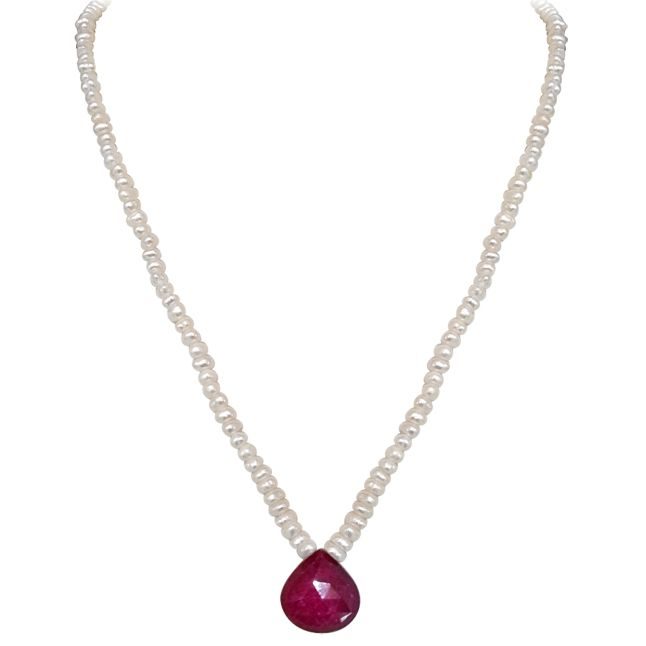 Buy Surat Diamond - 14.30cts Faceted Drop Ruby & Freshwater Pearl Necklace - Sn151-2 online