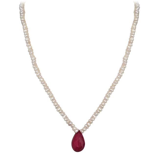 Buy Surat Diamond - 22.99 Cts Faceted Drop Ruby & Freshwater Pearl Necklace - Sn151-23 online