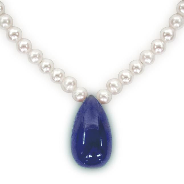 Buy Surat Diamond - 12.32cts Drop Sapphire & Freshwater Pearl Necklace - Sn200-18 online