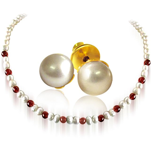 Buy Surat Diamond - Pearl & Red Garnet Beads Necklace With Pearl Earrings - Sn25+se65 online