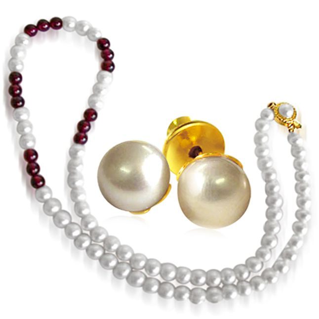 Buy Surat Diamond - Pearl And Garnet Necklace With Pearl Earrings - Sn44+se65 online