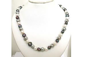 Buy Surat Diamond - Potato Shaped Black Grey & White Pearl Necklace - Sn455 online