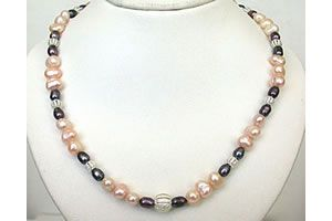 Buy Surat Diamond - Peach Pearl Grey Pearl & Silver Plated Jali Ball Necklace. - Sn475 online