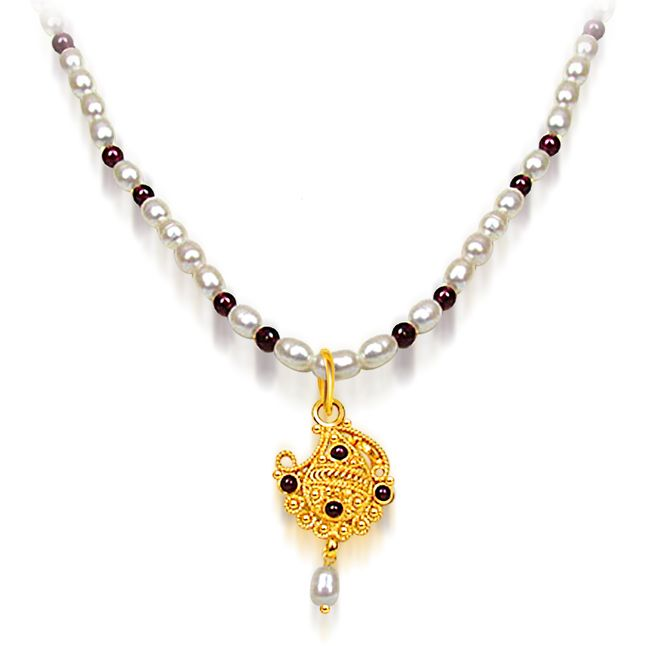 Buy Surat Diamond - Garnet & Freshwater Pearl Necklace - Sn486 online