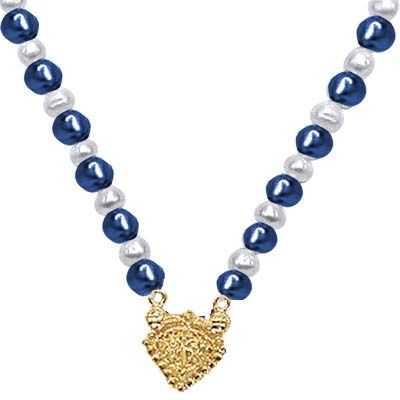 Buy Surat Diamond - 24kt Gold Plated Pendant Blue Stone & Freshwater Pearl Necklace - Sn569 online