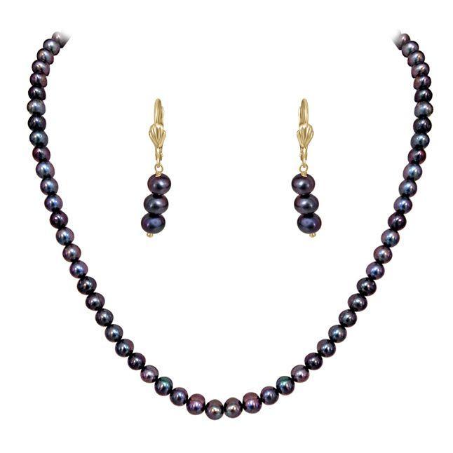 Buy Surat Diamond - Single Line Real Grey Pearl Set - Sn624 online