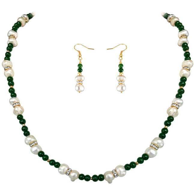 Buy Surat Diamond - Green Adoration - Real Pearl & Colored Stone Set - Sn650 online