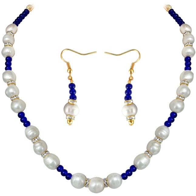 Buy Surat Diamond - Blue Star - Real Pearl & Colored Stone Set - Sn651 online