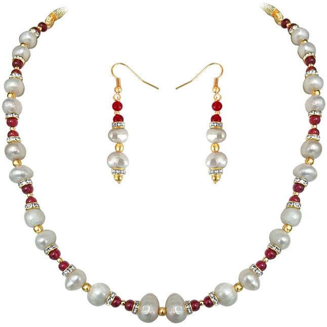 Buy Surat Diamond - Red Rouge - Real Pearl & Colored Stone Set - Sn652 online