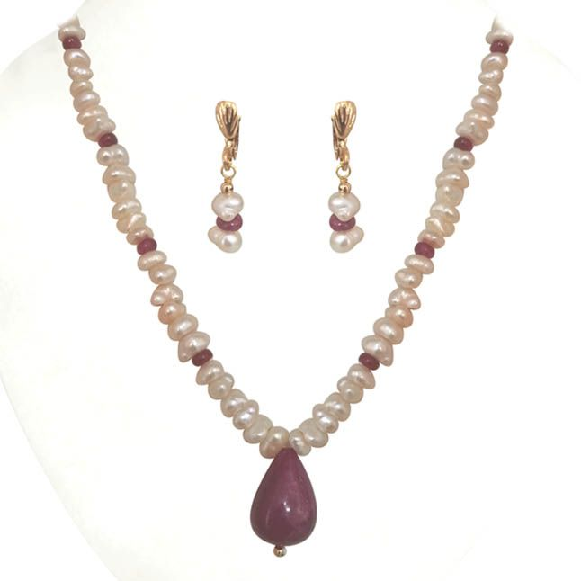 Buy Surat Diamond - Real Ruby & Freshwater Pearl Necklace & Earring Set - Sn667 online