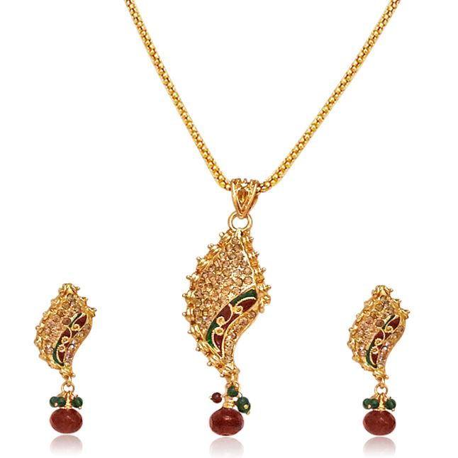 Buy surat diamond fancy shaped gold plated pendant necklace buy surat diamond fancy shaped gold plated pendant necklace earring set ps42 online mozeypictures