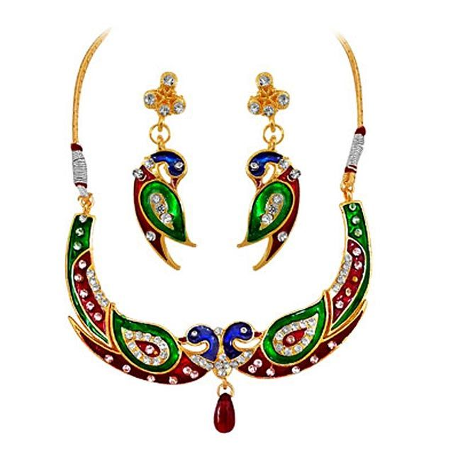 Buy Surat Diamond - A Peacock Necklace Set -ps94 online