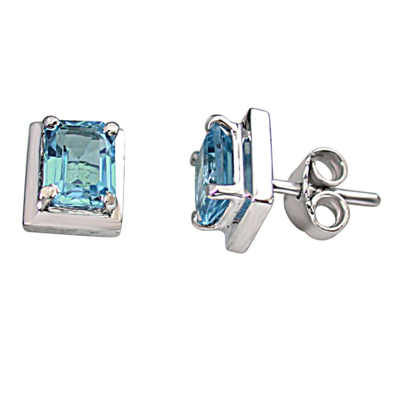 Buy Surat Diamond 3.57ct Octagonal Shape Swiss Blue Topaz 925 Silver Earring Sde7 online