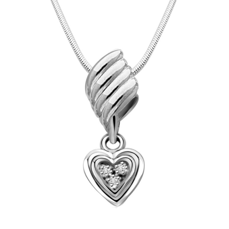 Buy Surat Diamond From The Heart- Real Diamond & Sterling Silver Pendant With 18 Inch Chain online