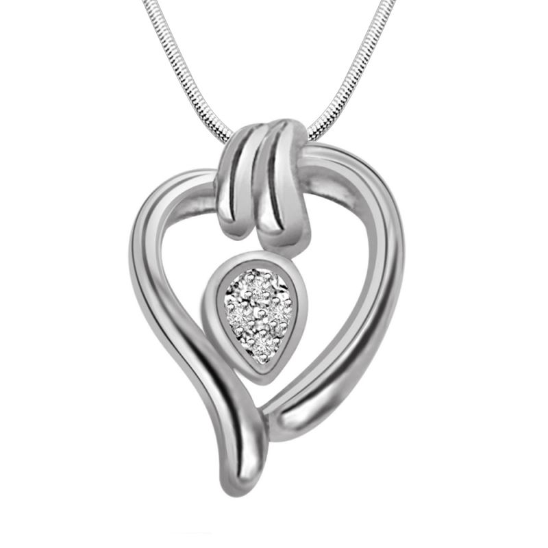 Buy Surat Diamond Candy Heart - Real Diamond & Sterling Silver Pendant With 18 Inch Chain online