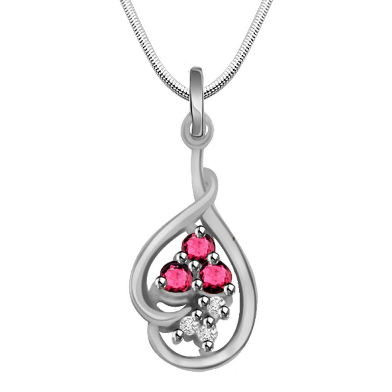 Buy Surat Diamond Trinking Love - Real Diamond, Red Ruby & Sterling Silver Pendant With 18 Inch Chain online