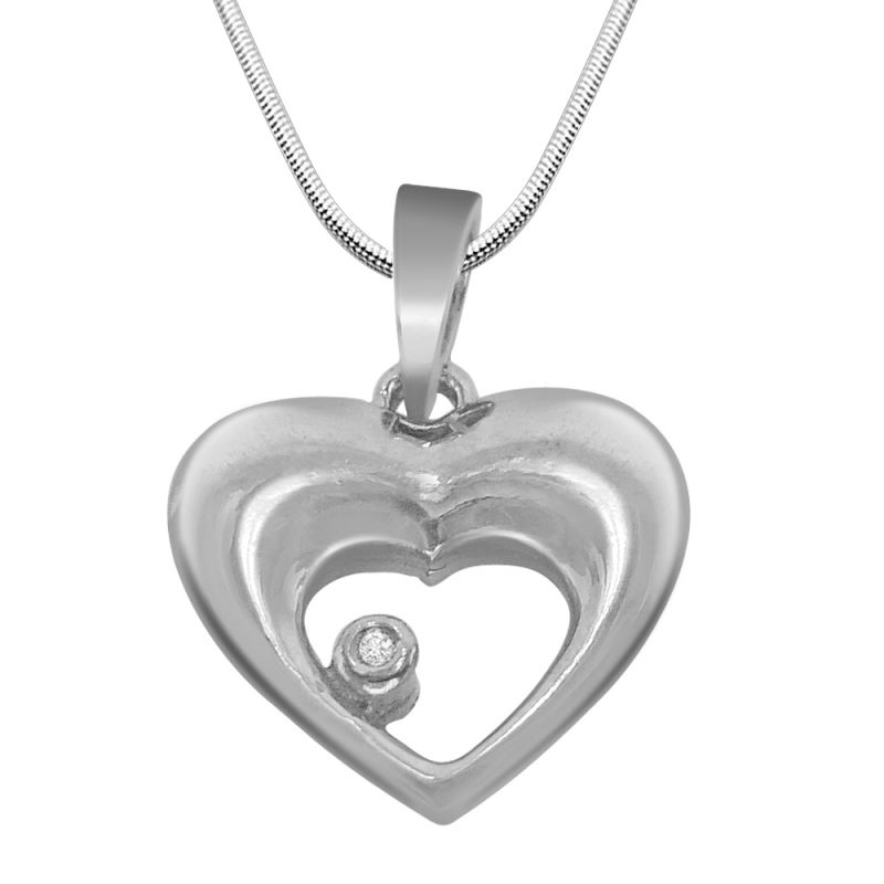 Buy Surat Diamond Heart And Soul -real Diamond & Sterling Silver Pendant With 18 Inch Chain online