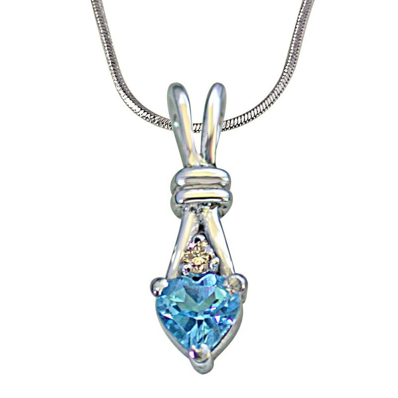 Buy Surat Diamond Single Diamond Set With Heart Shape Swiss Blue Topaz 925 Silver Pendant online