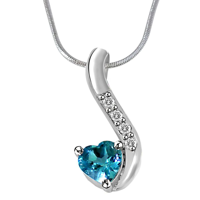 Buy Surat Diamond Heart Shaped Blue Topaz & Real Diamond Silver Pendant With 18 Inch Chain online