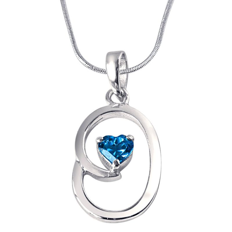 Buy Surat Diamond Bless Our Nest Heart Shaped Blue Topaz & Sterling Silver Pendant With 18 In Chain Sdp309 online