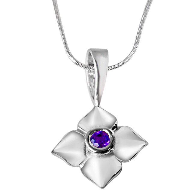 Buy Surat Diamond Growing Flower Amethyst & Sterling Silver Pendant With 18 In Chain Sdp332 online