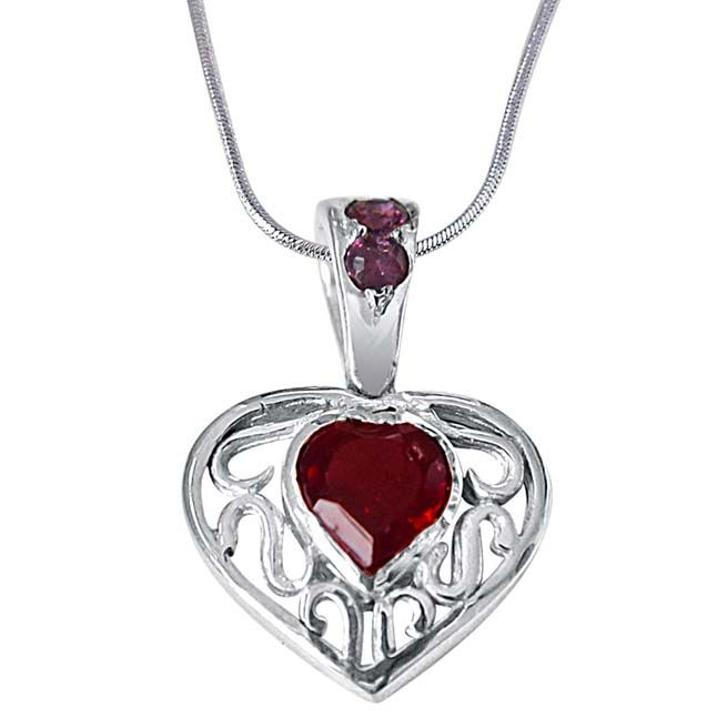 Buy Surat Diamond Final Destination Of Life Garnet, Rhodolite & 925 Sterling Silver Pendant With 18 In Chain Sdp401 online